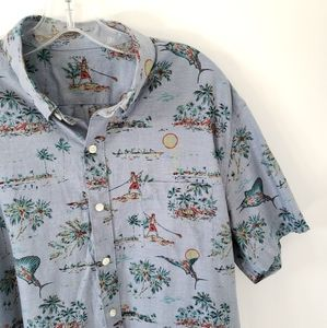 J. Crew Hawaiian Button Down Shirt Cotton Lrg